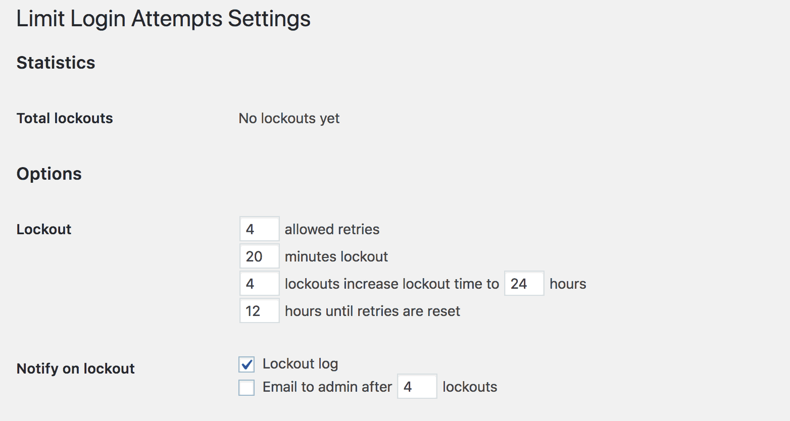 Configuring the settings for Limit Login Attempts Reloaded.