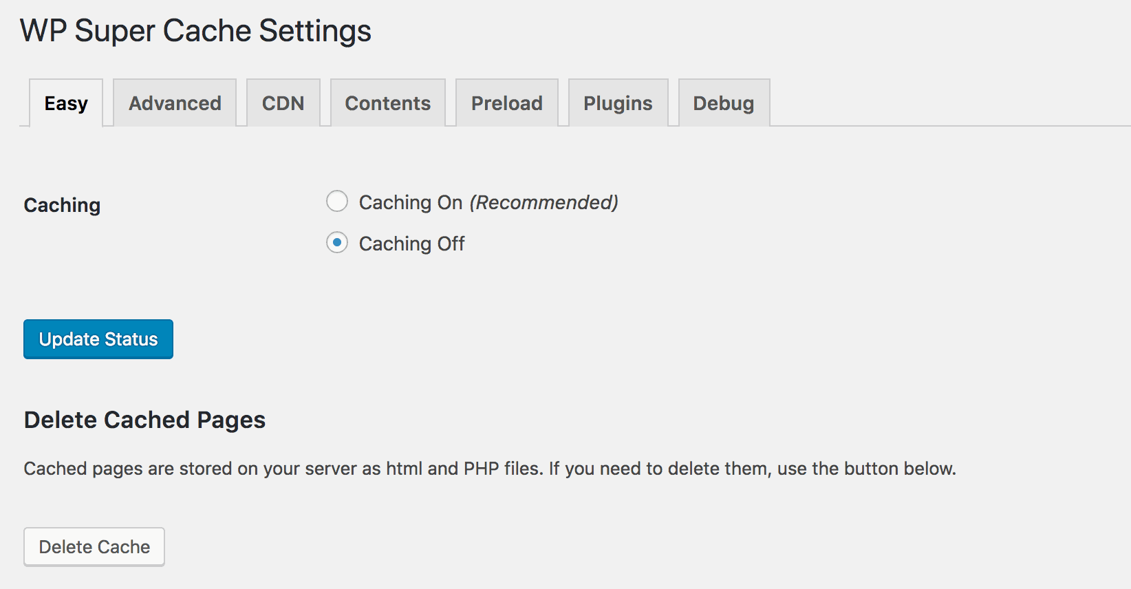 Configuring the settings for WP Super Cache.