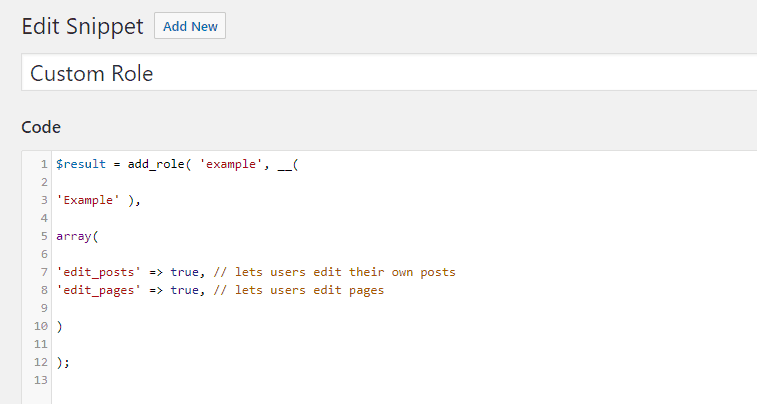 create role with code