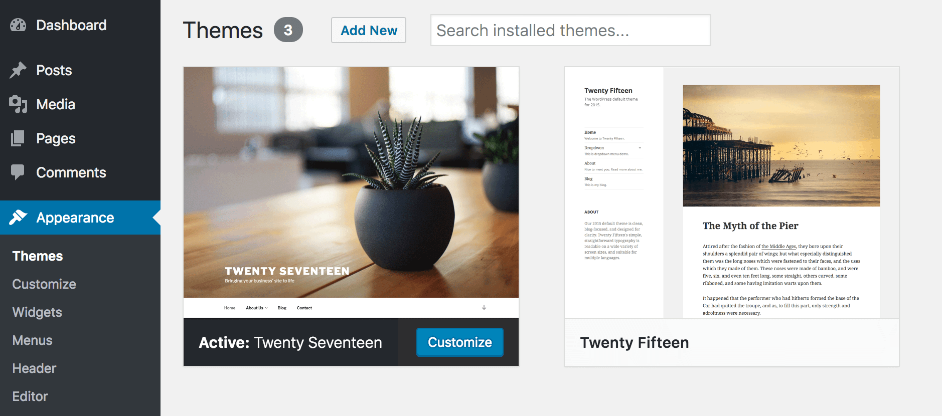 Changing your WordPress theme to a default option.