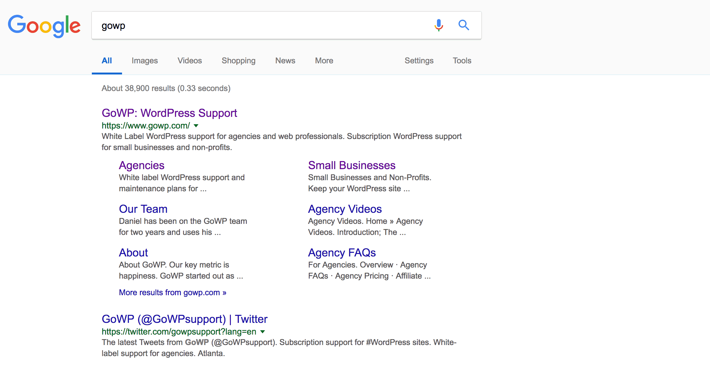 An example of search results in Google.