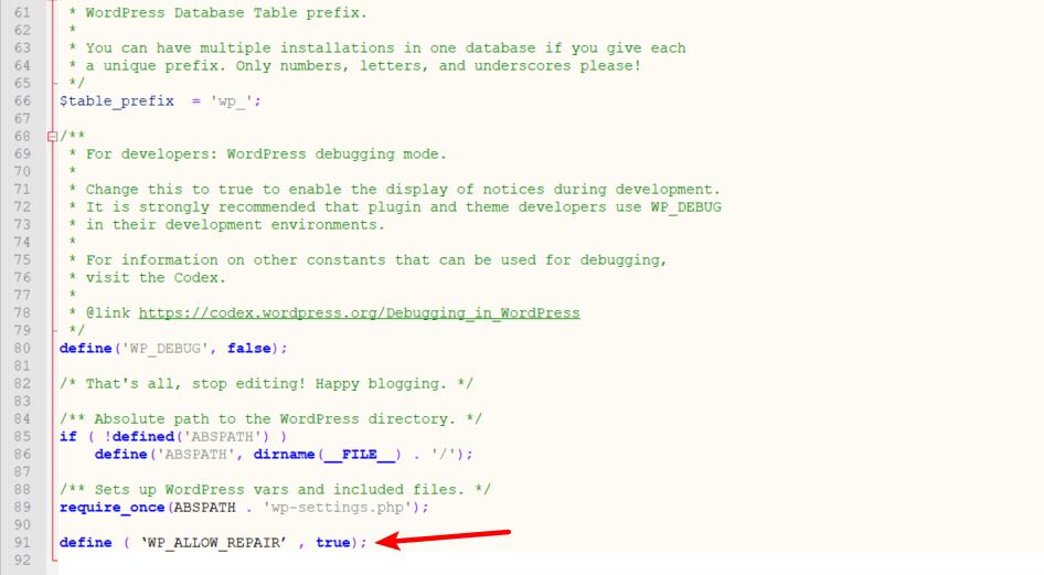 enable wp database repair tool