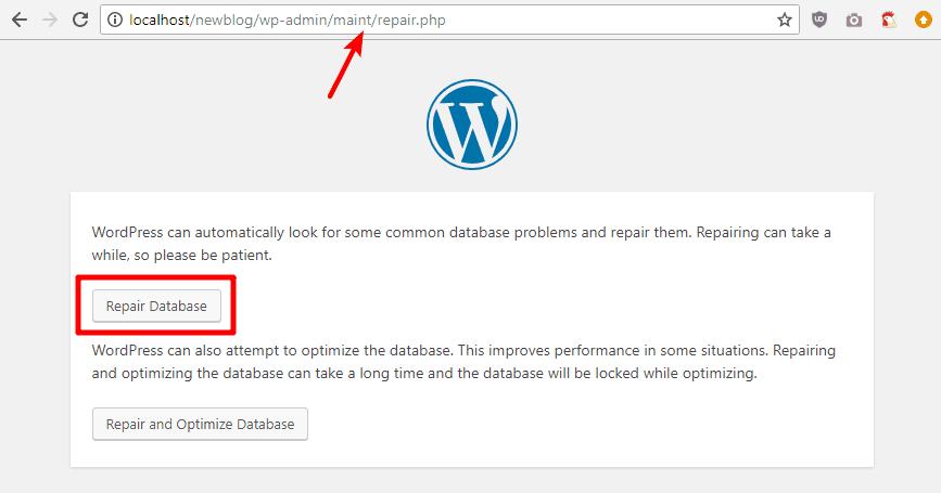 run wordpress database repair tool
