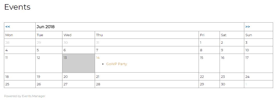 events manager example