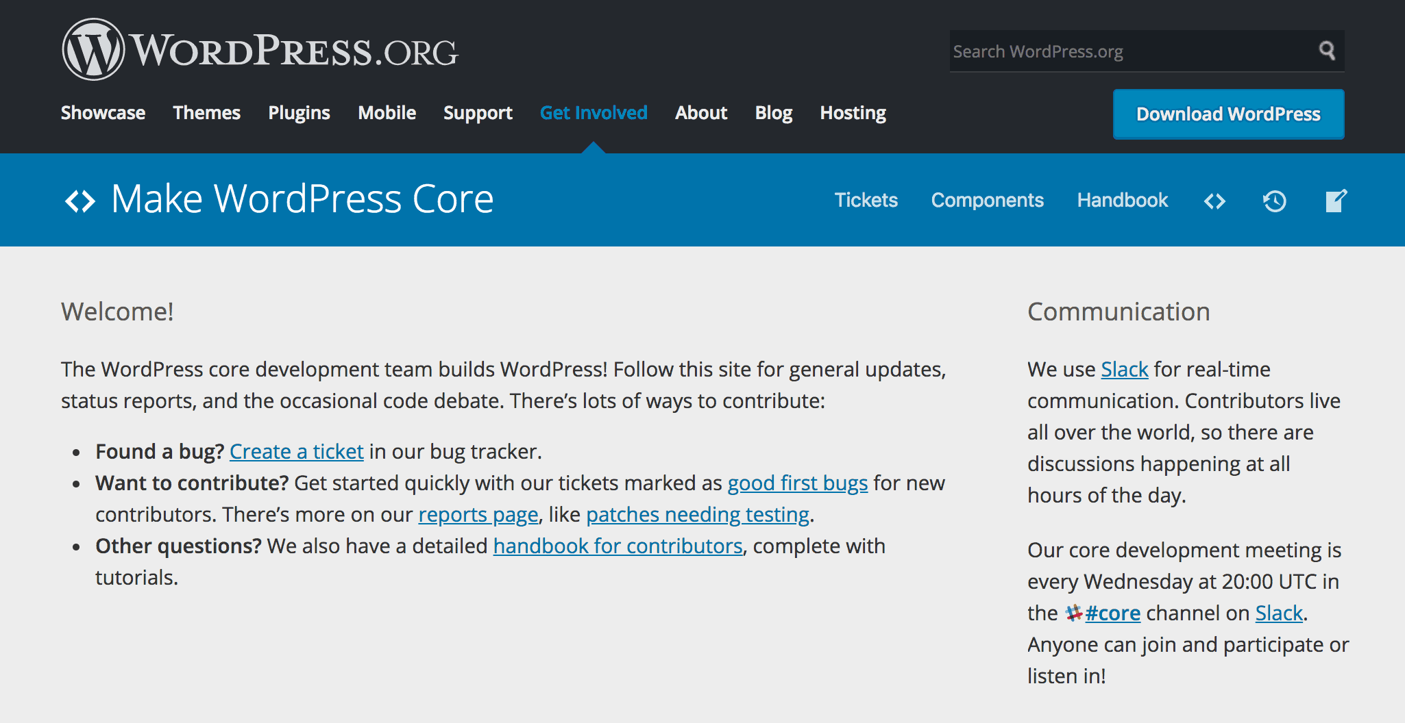 The Make WordPress Core blog.