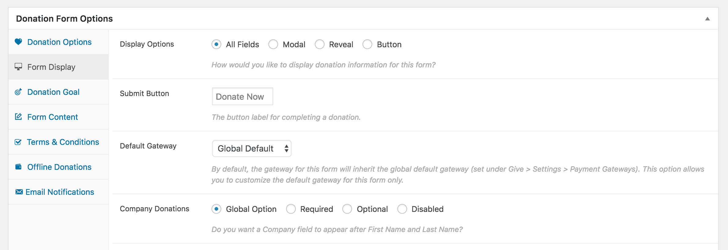 The Form Display options in Give.