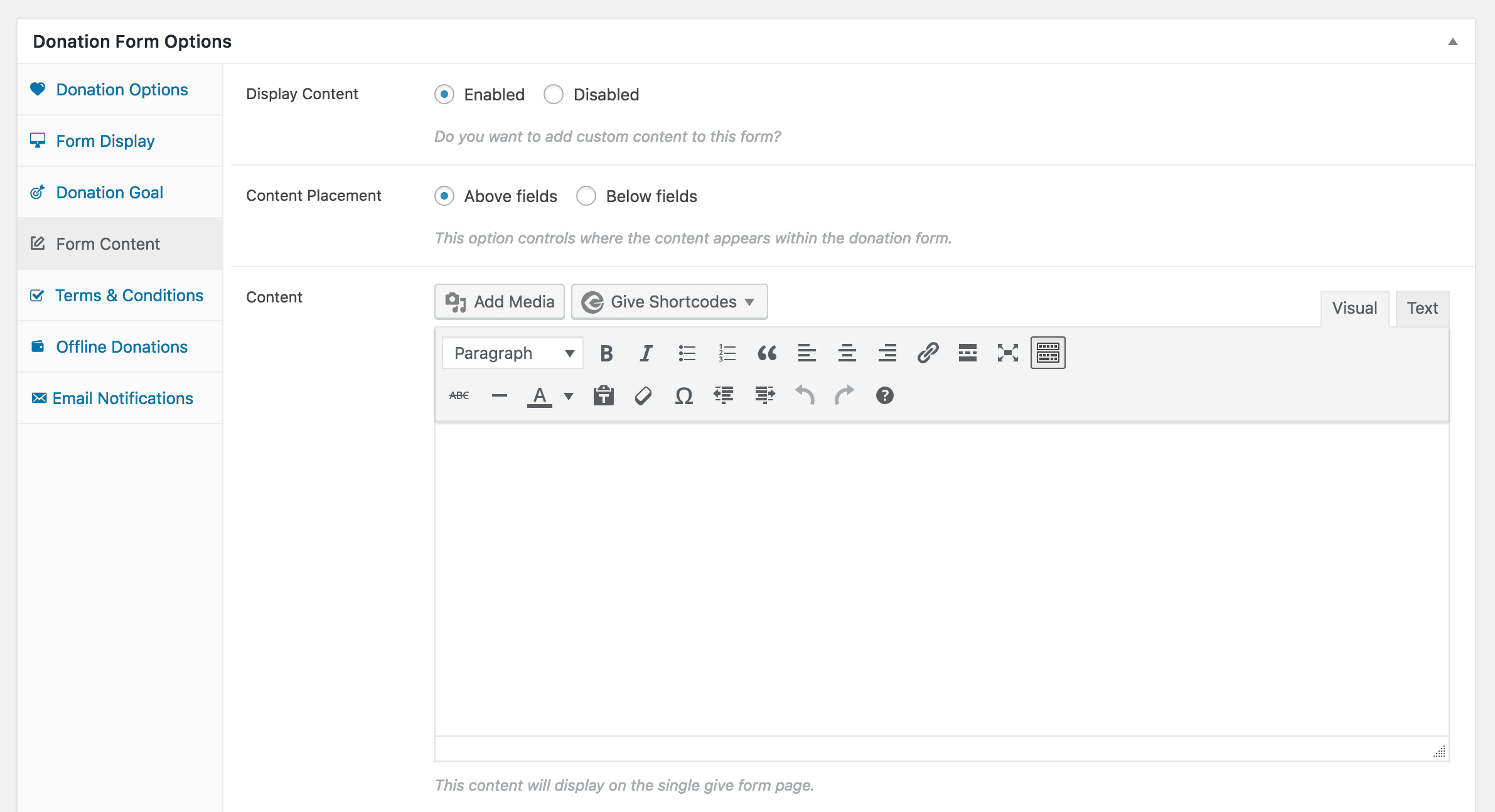 Creating a separate page for your Give form.