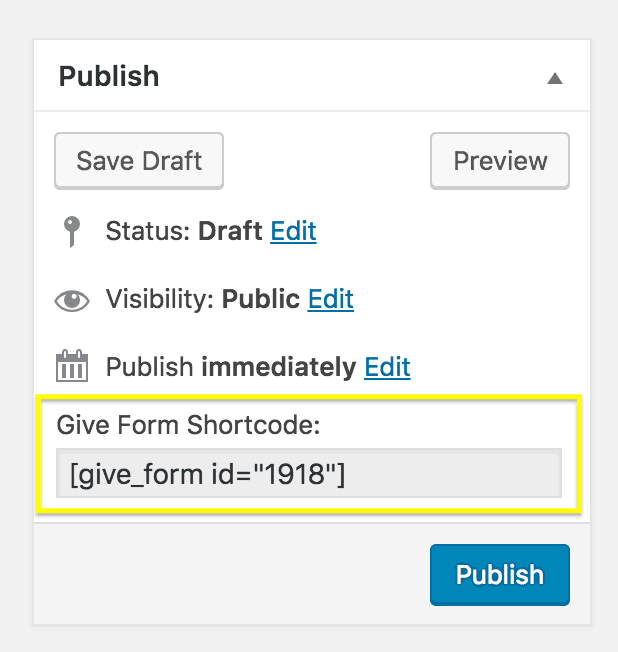 The shortcode for the crowdfunding form.