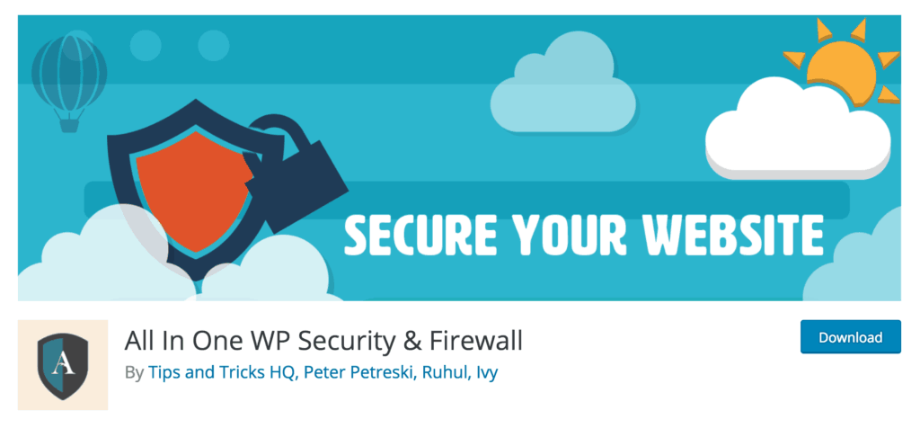 The All In One WP Security & Firewall plugin.