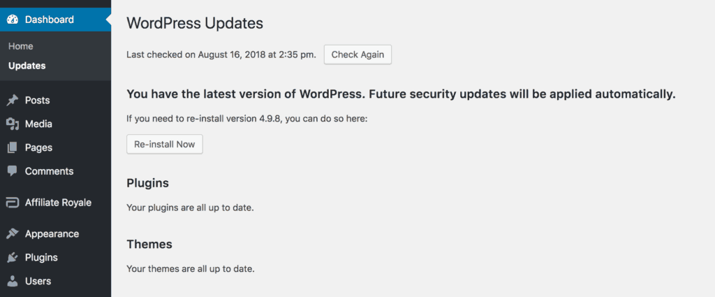 The WordPress updates page, showing no new updates.