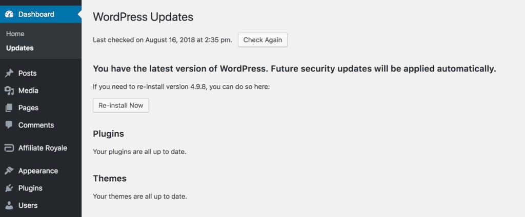 The WordPress updates page, showing no new updates.