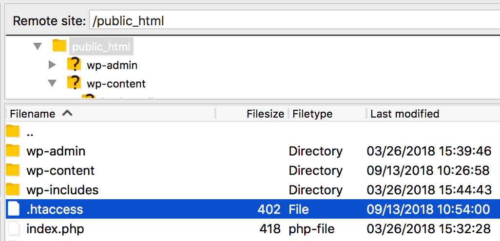 The .htaccess file viewed in FileZilla.