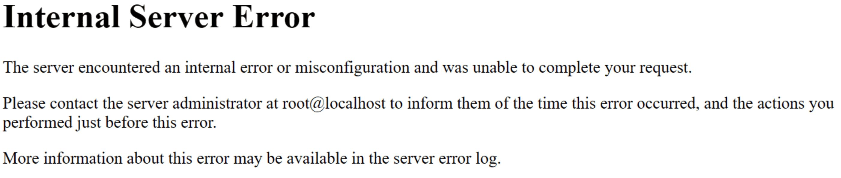 The Internal Server Error message.