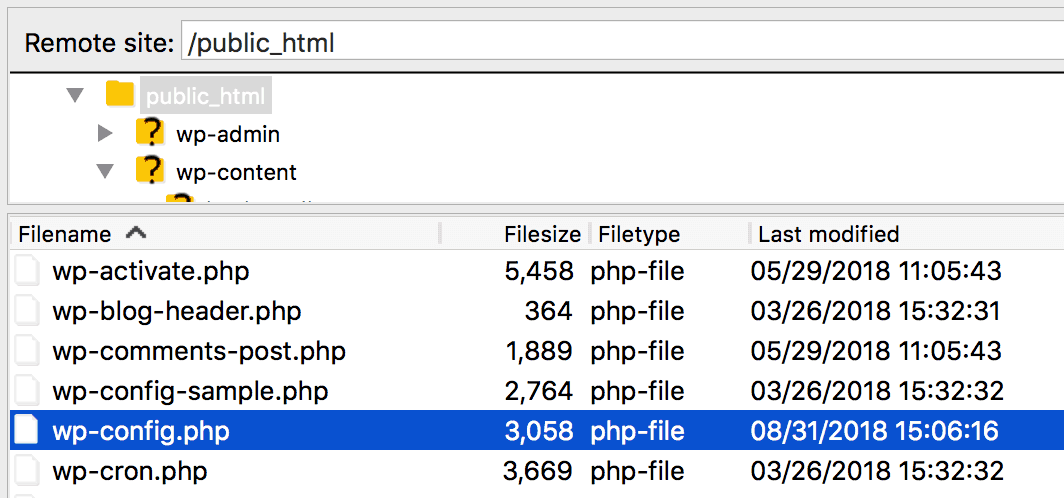 The wp-config.php file viewed in FileZilla.