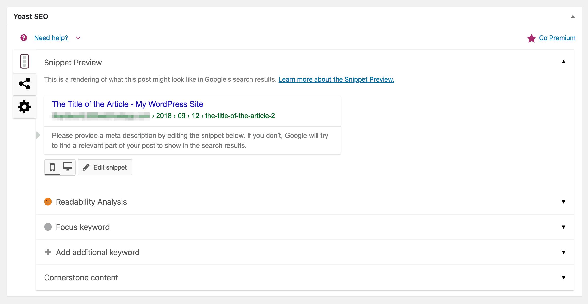 The Yoast SEO meta box in the WordPress editor.