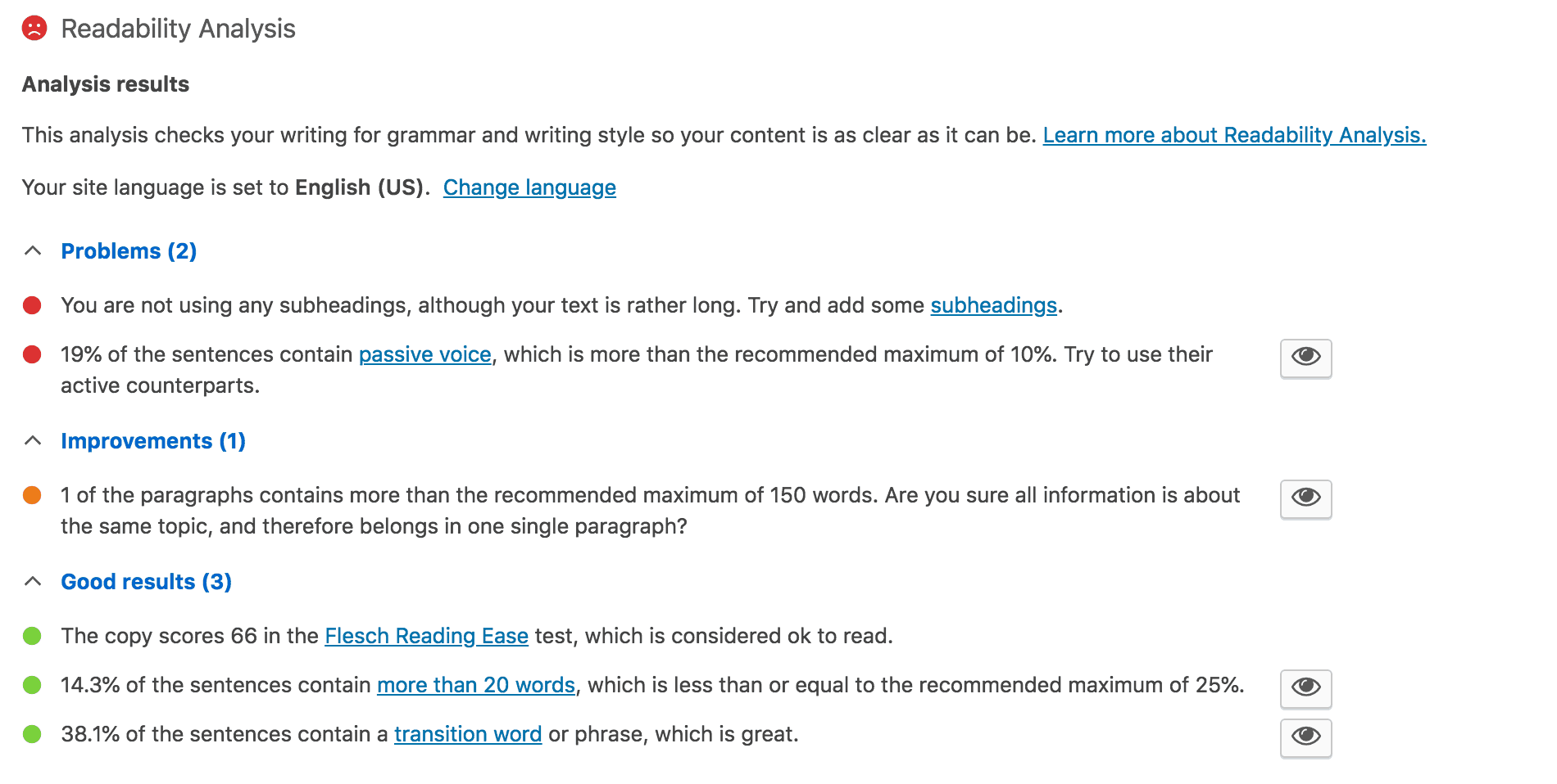 The Readability Analysis section of Yoast SEO.