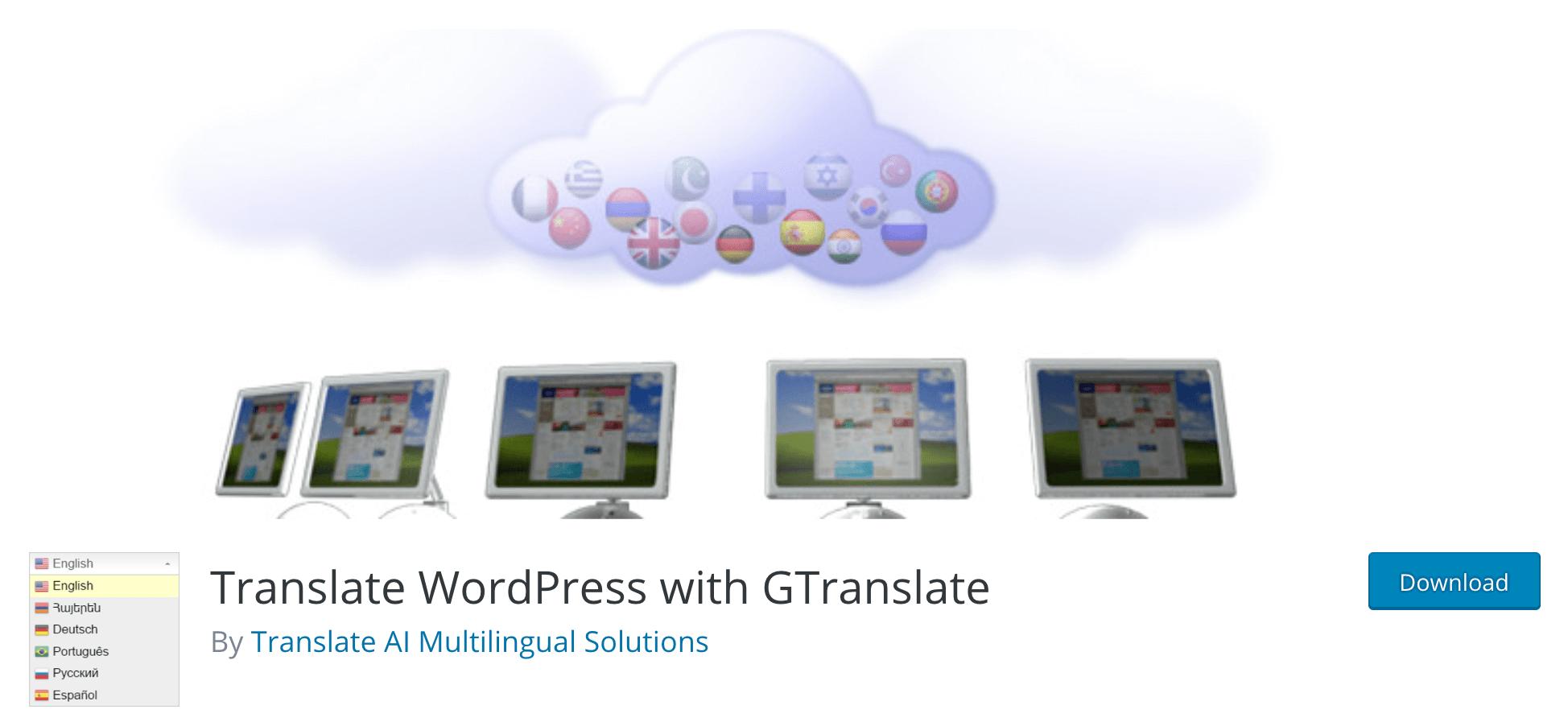 The GTranslate plugin.