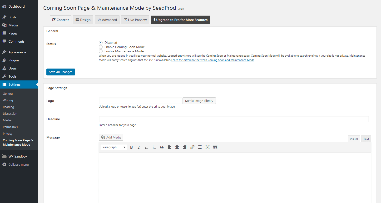 The Coming Soon Page & Maintenance Mode plugin settings.