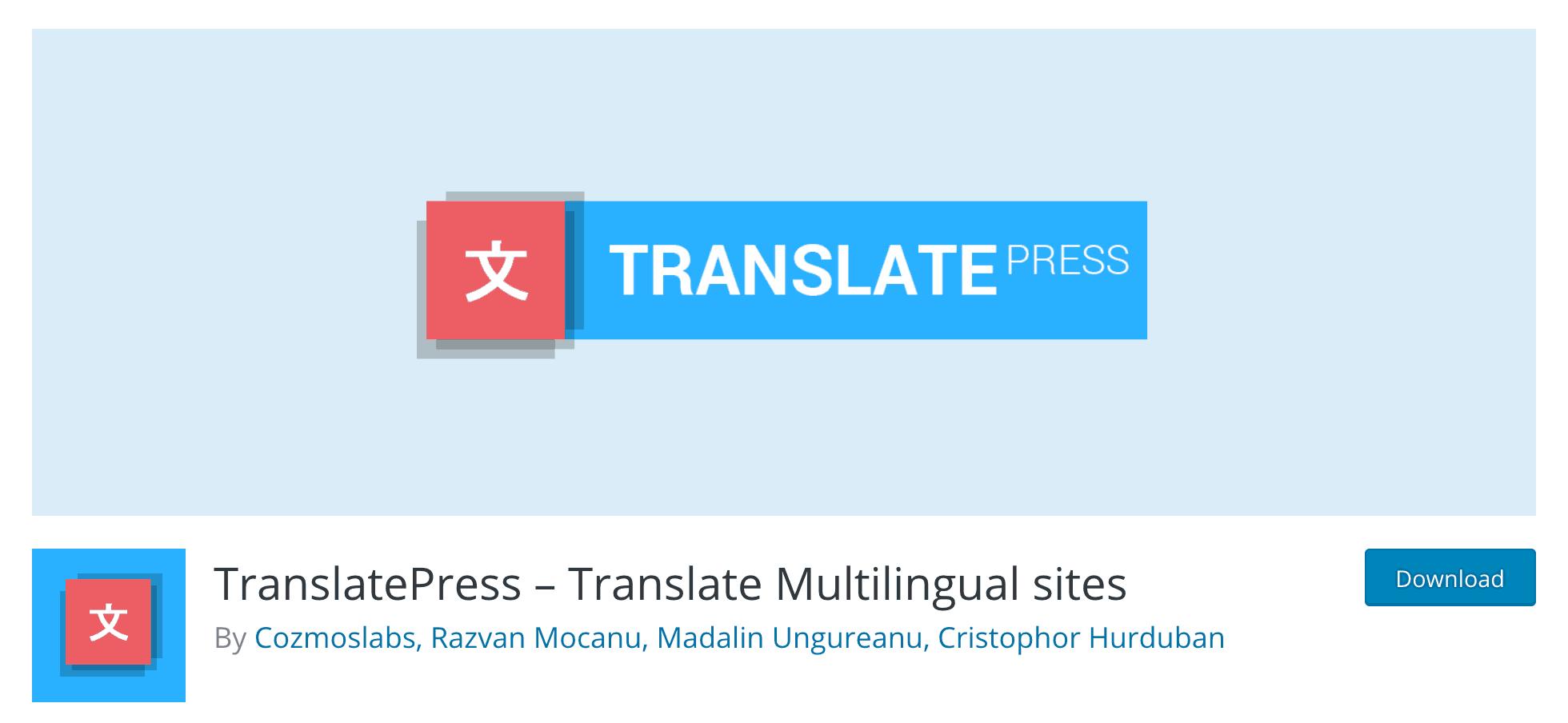 The TranslatePress plugin.