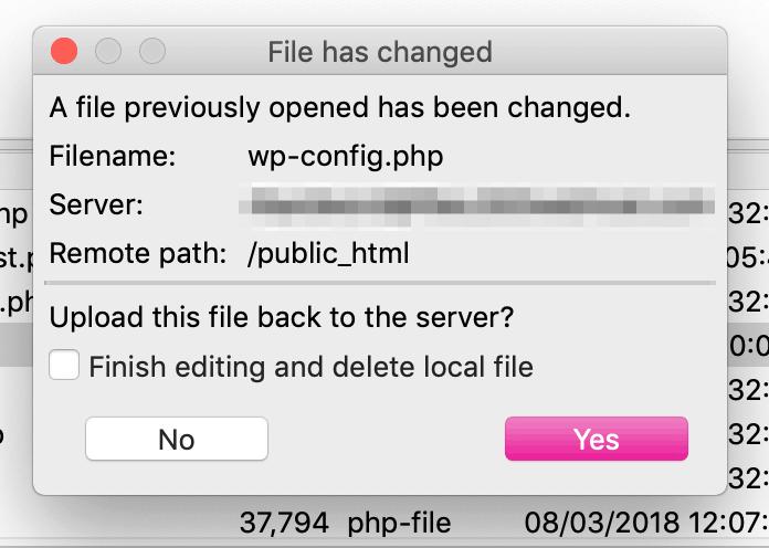 FileZilla message about updating a file.