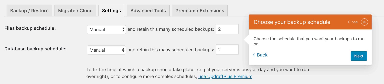 The Settings tab in the UpdraftPlus settings.