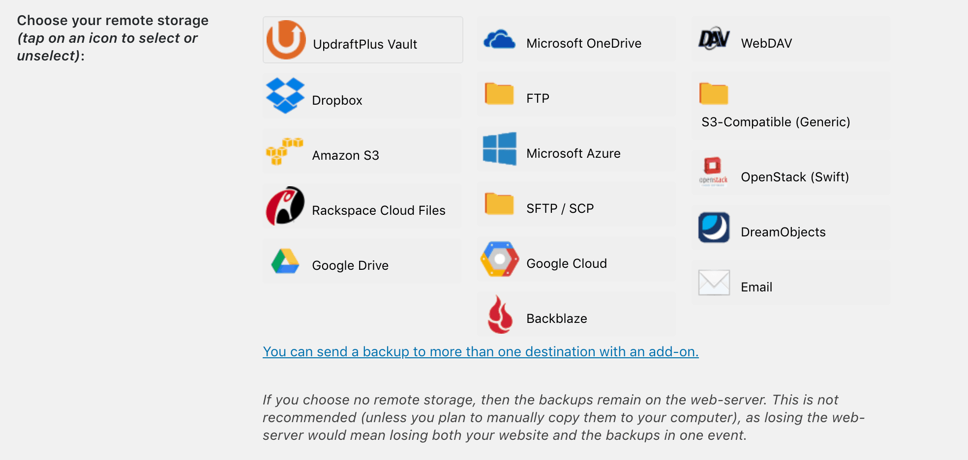 The services you can use to save your backups.