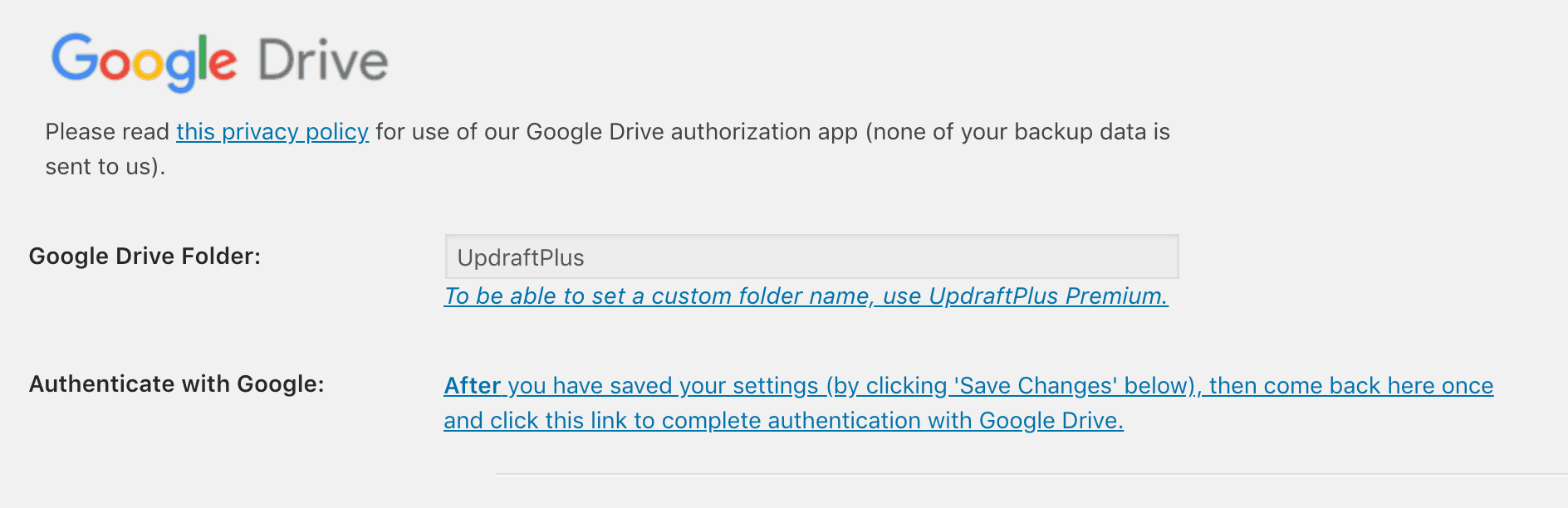 Settings for connecting to Google Drive.