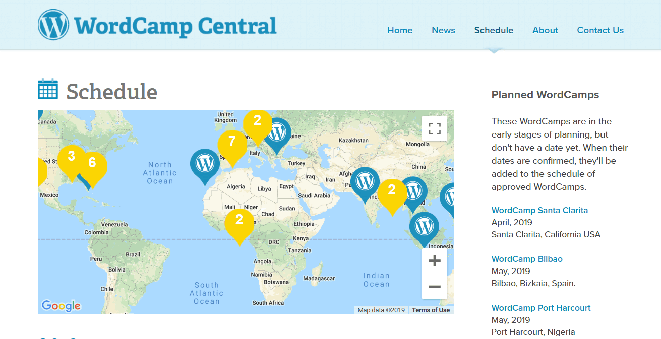 The WordCamp Central website.