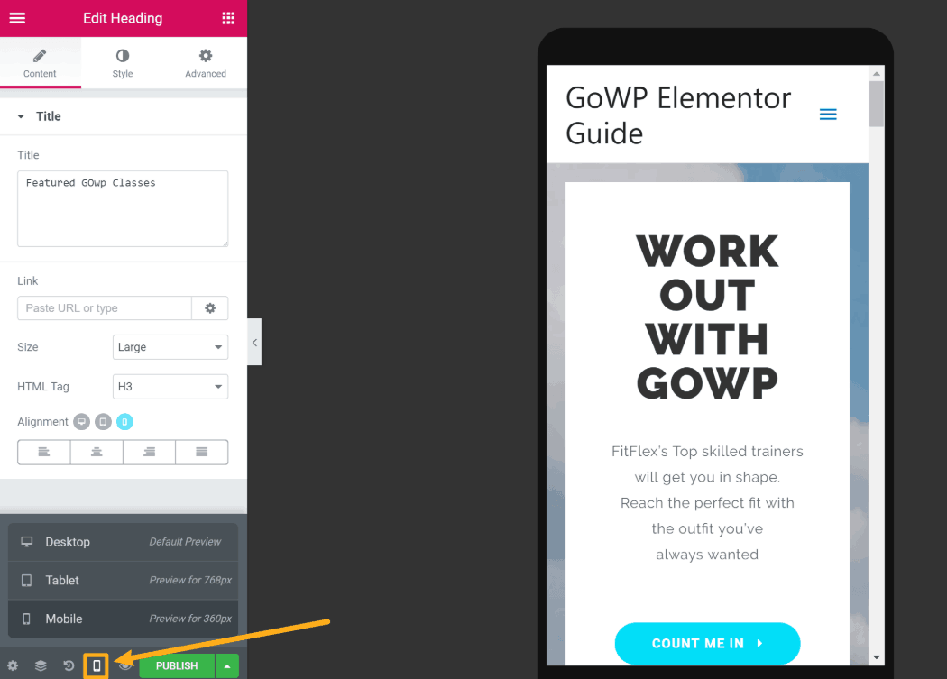 Elementor responsive preview