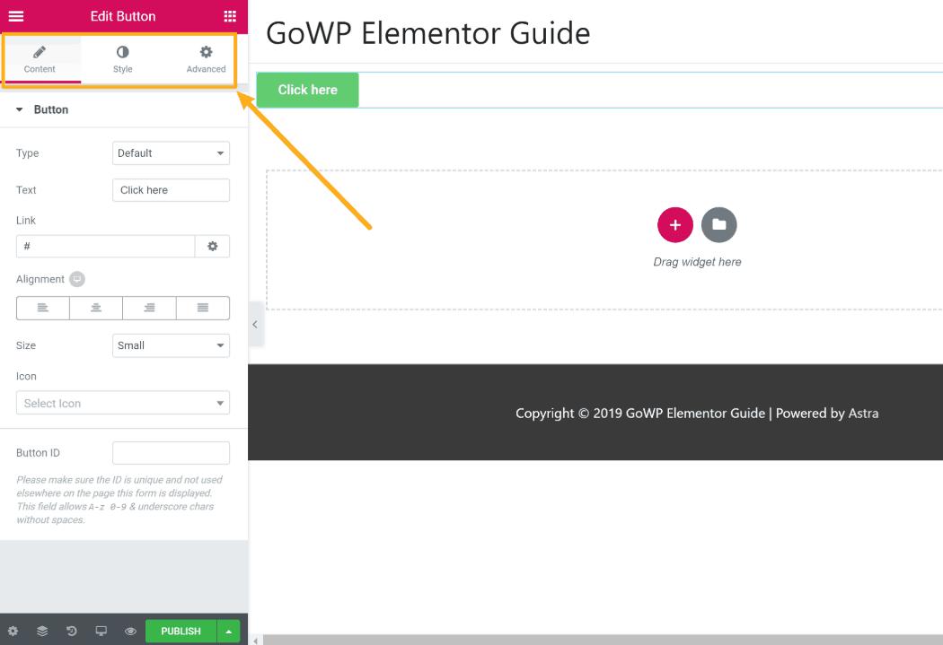 Configure Elementor widget