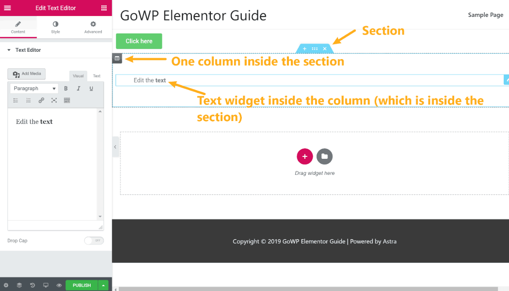 Sections vs columns vs widgets