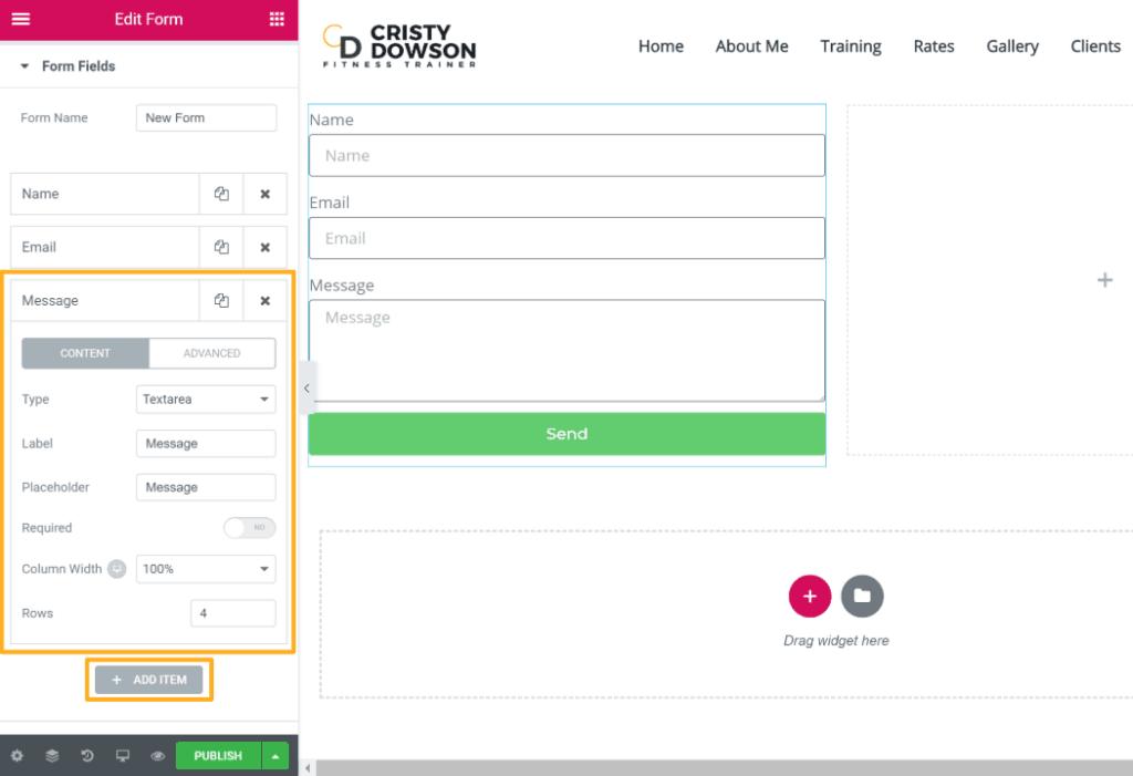 Elementor Pro form widget