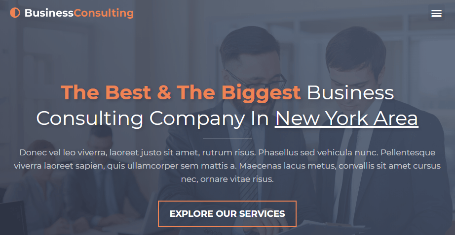 The Business Consulting Homepage template.