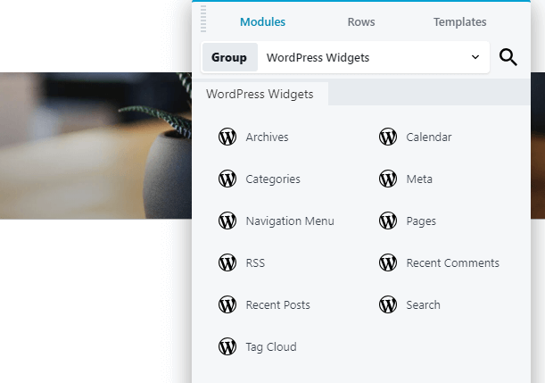 Adding WordPress widgets using the Beaver Builder.