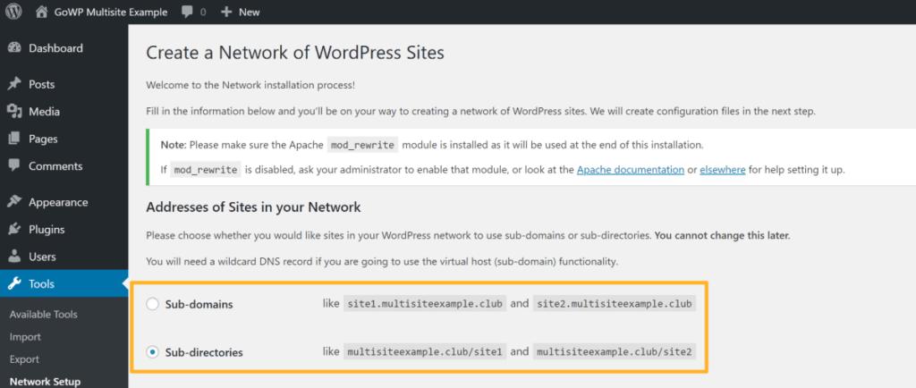 choose urls for WordPress Multisite