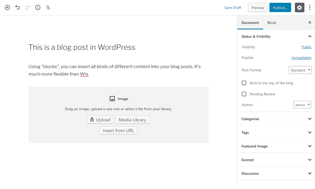 WordPress blog editor vs Wix