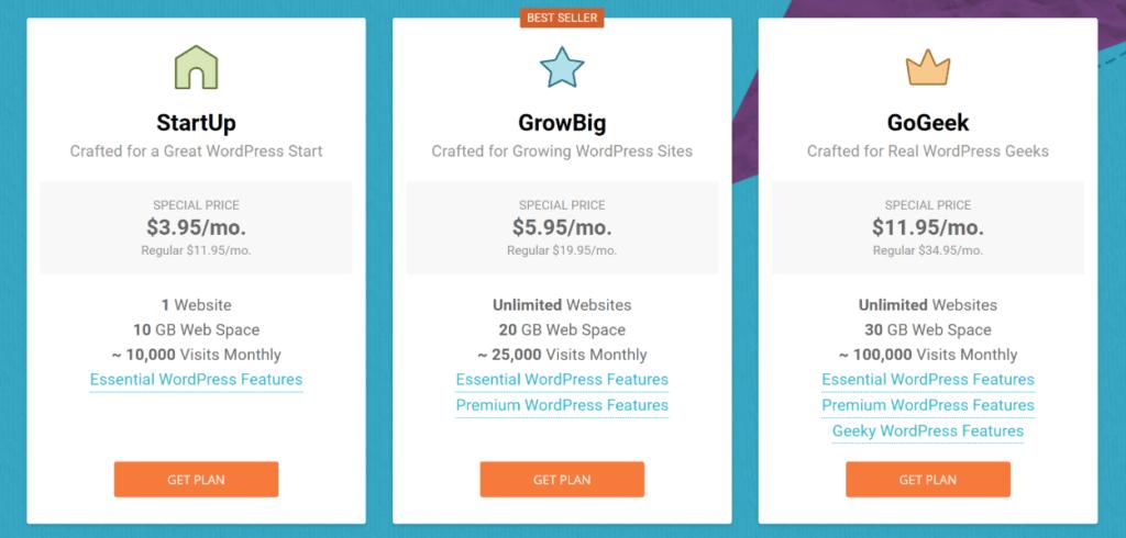 WordPress hosting pricing vs Wix