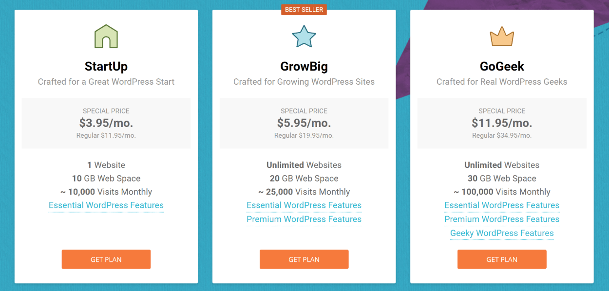 WordPress hosting pricing vs Wix