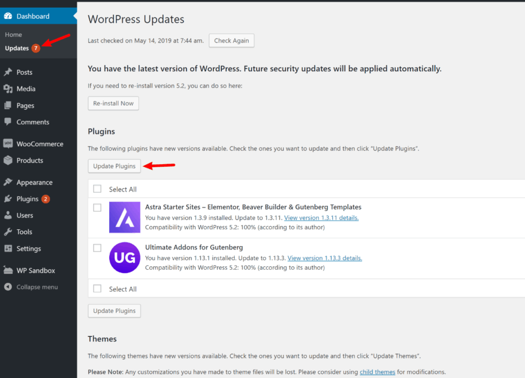 WordPress update notificatios