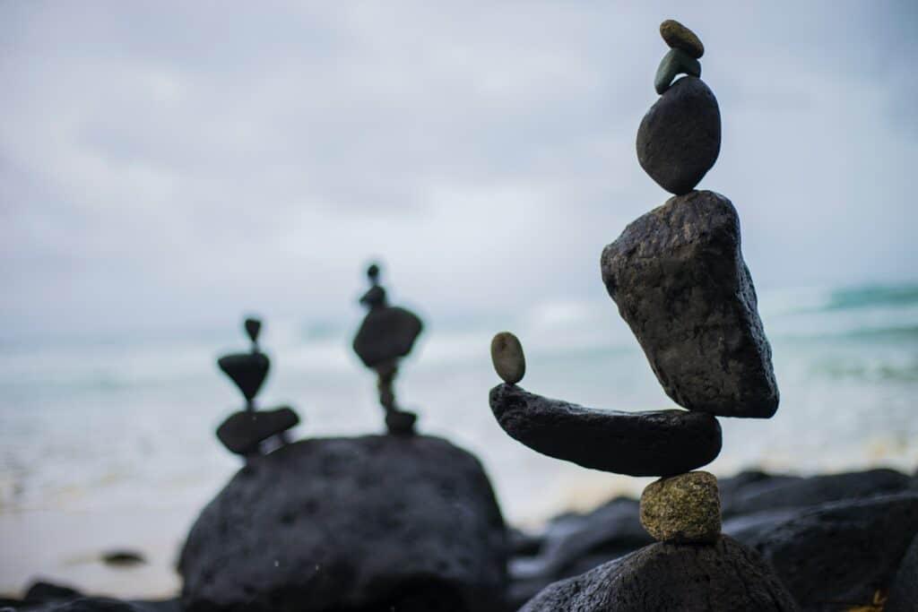 Zen rocks on a beachside.