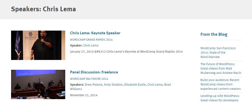 WordPress.tv Speaker Page Chris Lema