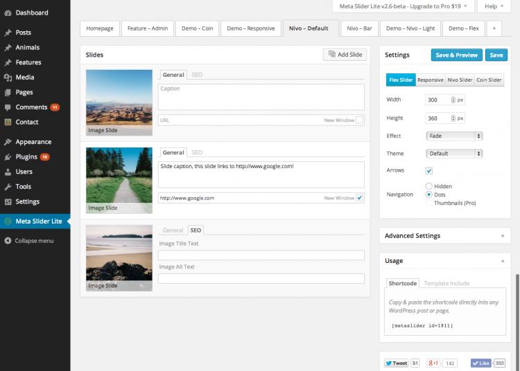 Figure 1: Meta Slider on WordPress dashboard